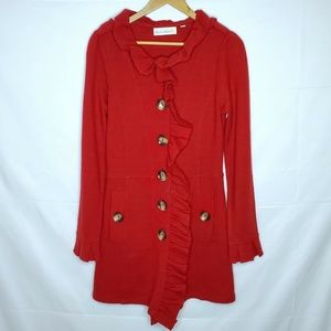 Charlie & Robin Red Ruffle Button Long Cardigan